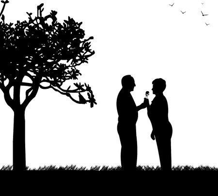 Lovely retired elderly couple where man gives a flower woman  in park, one in the series of similar images silhouette
