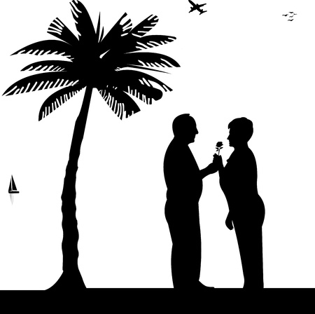 Lovely retired elderly couple where man gives a flower woman on beach, one in the series of similar images silhouette Vector