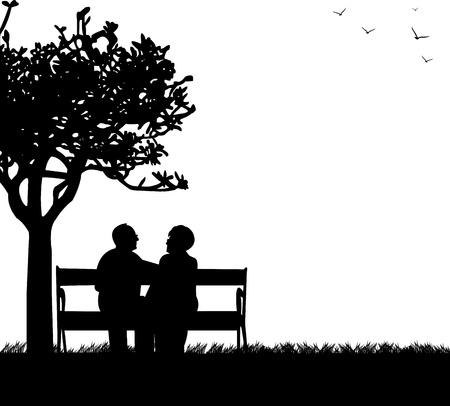 banco parque: Encantadora pareja de ancianos jubilados sentados en el banco en el parque, en la serie de im�genes similares silueta Vectores