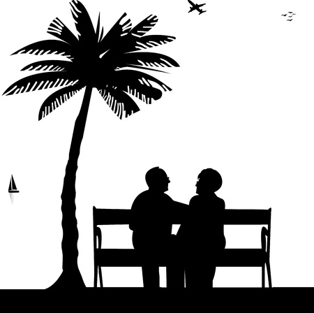 seacoast: Lovely retired elderly couple sitting on bench on the beach, one in the series of similar images silhouette Illustration