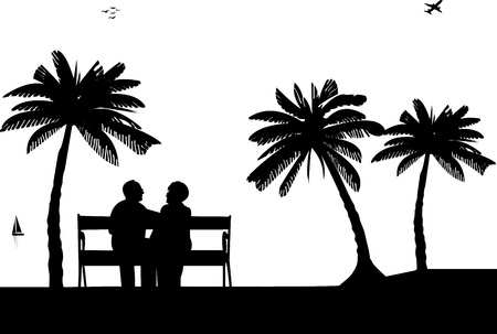Lovely retired elderly couple sitting on bench on the beach, one in the series of similar images silhouette Vector
