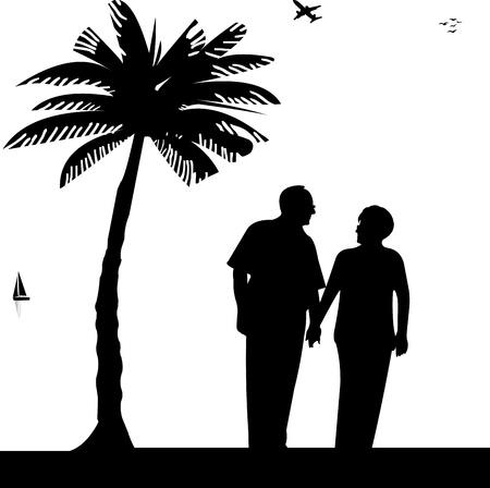 jubilados: Encantadora pareja de ancianos jubilados paseando por la playa, uno en la serie de imágenes similares silueta Vectores