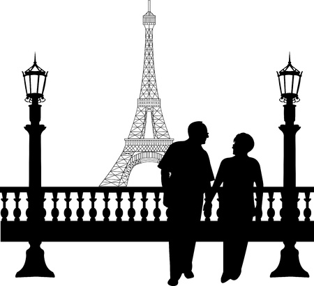 Lovely retired elderly couple walking in front of Eiffel tower in Paris, one in the series of similar images silhouette Imagens - 20476376