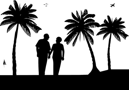 Lovely retired elderly couple walking on the beach, one in the series of similar images silhouette Vector