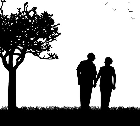 grandparent: Lovely retired elderly couple walking in park, one in the series of similar images silhouette Illustration