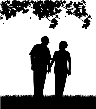 retiree: Lovely retired elderly couple walking in park, one in the series of similar images silhouette Illustration