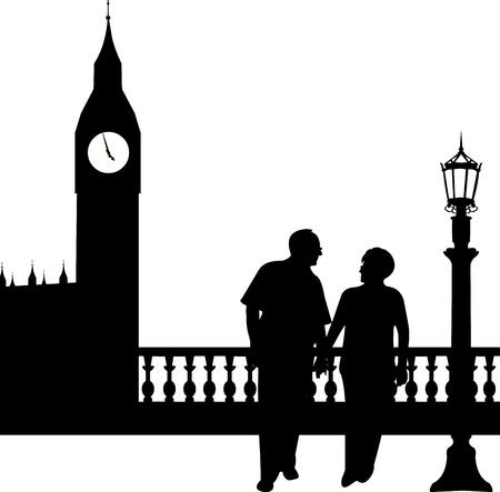 pensionado: Encantadora pareja de ancianos jubilados caminar delante del Big Ben de Londres, uno en la serie de imágenes similares silueta Vectores