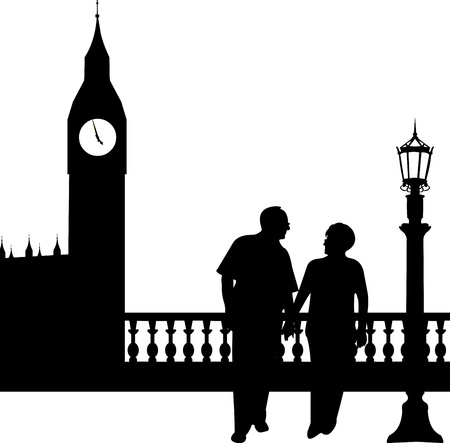palace of westminster: Lovely retired elderly couple walking in front of Big Ben in London, one in the series of similar images silhouette Illustration