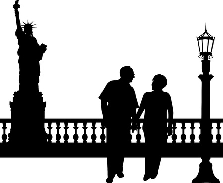 new generation: Lovely retired elderly couple walking in New York, one in the series of similar images silhouette Illustration