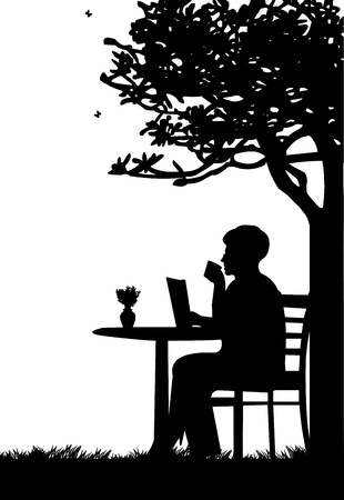 Lovely retired elderly woman drinking cup of coffee and reading newspaper under the tree in garden or yard silhouette Vector