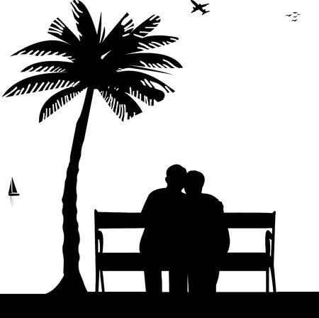 casal: Lindo casal idoso aposentado sentado no banco na praia, um de uma s?rie de imagens semelhantes silhueta