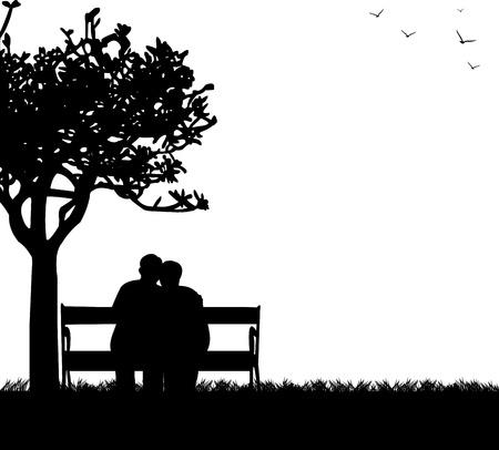 素敵な公園のベンチに、1 つのシリーズと同様の画像のシルエットの上に座っている高齢者のカップルを引退