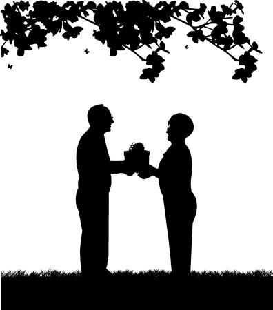 pensionado: Encantadora pareja de ancianos jubilados donde el hombre da a la mujer un regalo, uno en la serie de imágenes similares silueta Vectores