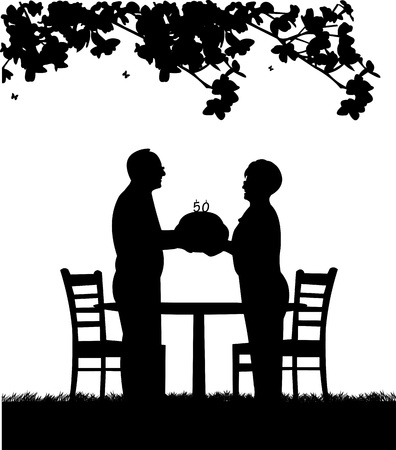 Lovely retired elderly couple where man gives woman a birthday cake with candles, one in the series of similar images silhouette Vector
