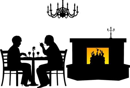 retired: Lovely retired elderly couple having a romantic dinner in a restaurant silhouette, one in the series of similar images Illustration