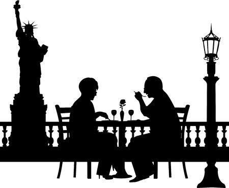 Lovely retired elderly couple having a romantic dinner in New York silhouette, one in the series of similar images Vector