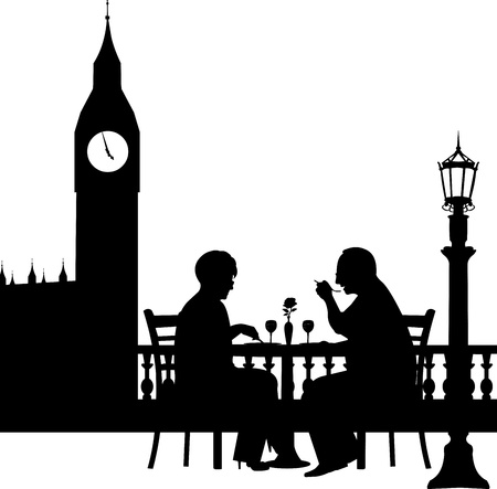 retired: Lovely retired elderly couple having a romantic dinner in front of Big Ben in London silhouette, one in the series of similar images