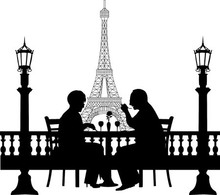 Lovely retired elderly couple having a romantic dinner in front of Eiffel tower in Paris silhouette, one in the series of similar images Vector