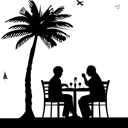 Lovely retired elderly couple having a romantic dinner on the beach under palm tree silhouette, one in the series of similar images Vector