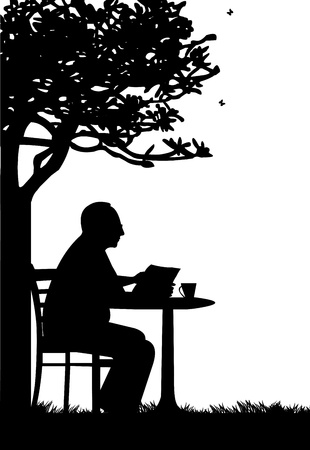 garden chair: Lovely retired elderly man drinking cup of coffee and reading the newspaper in garden or yard under the tree silhouette