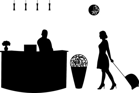 hotel receptionist: Visitor and the receptionist at the hotel silhouette, one in the series of similar images