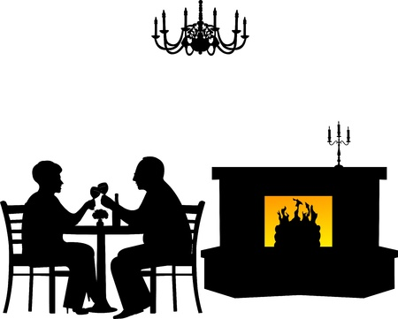 fireplace: Lovely retired elderly couple drinking glass of wine in restaurant, one in the series of similar images silhouette