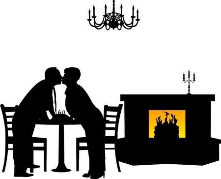 retired: Lovely retired elderly couple kissing in restaurant, one in the series of similar images silhouette