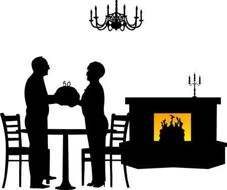 fireplace home: Lovely retired elderly couple where man gives woman a birthday cake with candles, one in the series of similar images silhouette