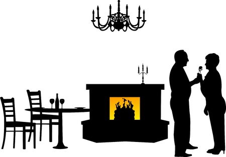 Lovely retired elderly couple where man gives a flower woman in restaurant, one in the series of similar images silhouette Stock Vector - 21378039