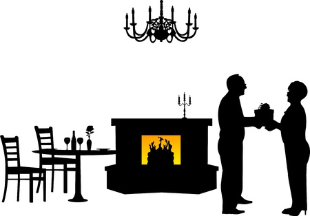 Lovely retired elderly couple where man gives a gift woman in restaurant, one in the series of similar images silhouette Stock Vector - 21378041