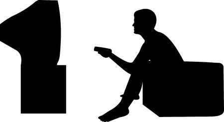Man tv kijken, geïsoleerd op de witte achtergrond, een in de reeks van soortgelijke foto's silhouet