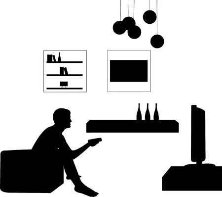 mann couch: Man watching TV im Wohnzimmer, eine in der Reihe von �hnlichen Bildern Silhouette