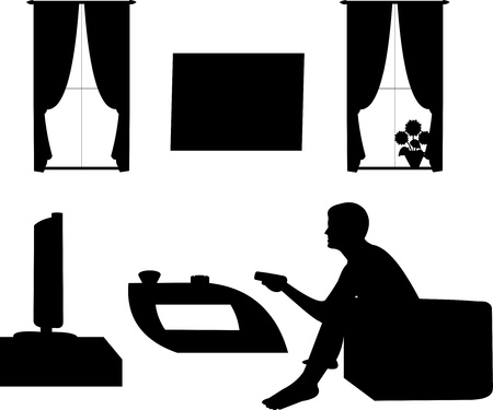 tv room: Man watching tv in living room, one in the series of similar images silhouette Illustration