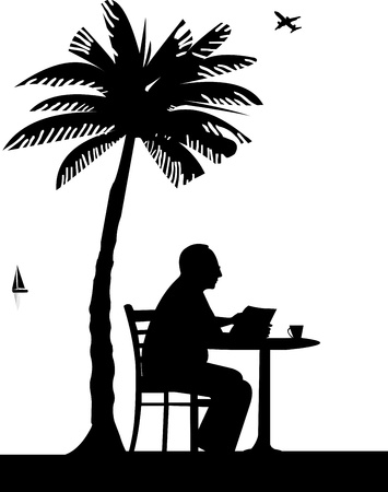 palm reading: Lovely retired elderly man drinking cup of coffee and reading the newspaper on the beach under the palm tree, one in the series of similar images