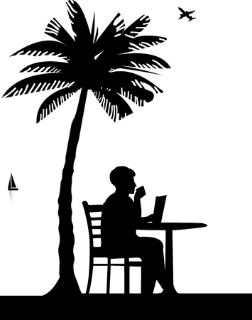 palm reading: Lovely retired elderly woman drinking cup of coffee and reading the newspaper on the beach under the palm tree, one in the series of similar images