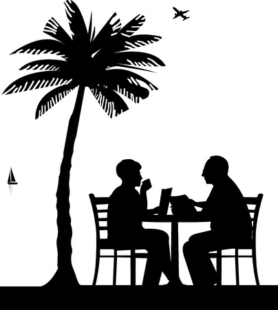 Lovely retired elderly couple drinking coffee and reading a newspaper on the beach under palm tree, one in the series of similar images silhouette Imagens - 21378048