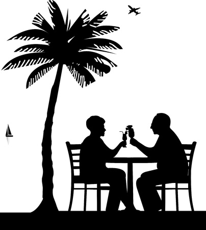 Lovely retired elderly couple drinking cocktails on the beach under palm tree, one in the series of similar images silhouette  Vector