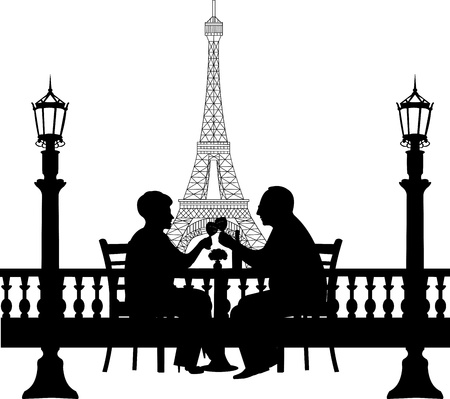 Lovely retired elderly couple drinking glass of wine in front of Eiffel tower in Paris, one in the series of similar images silhouette  Vector