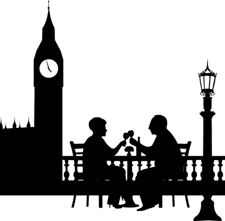Lovely retired elderly couple drinking glass of wine in front of Big Ben in London, one in the series of similar images silhouette  Vector