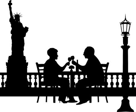Lovely retired elderly couple drinking glass of wine in New York, one in the series of similar images silhouette  Vector