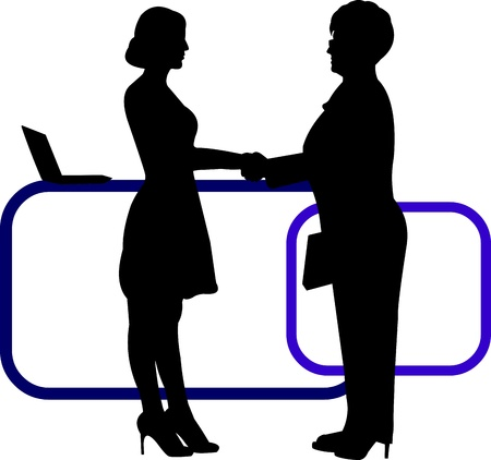 people discuss: Business background with business people shaking hands in office silhouette on layered, one in the series of similar images  Illustration