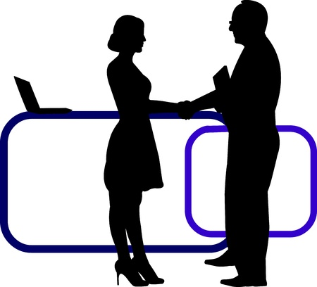 Business background with business people shaking hands in office silhouette on layered, one in the series of similar images Stock Vector - 21378057
