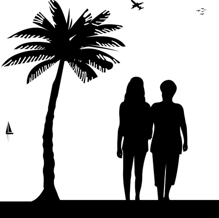Mother and daughter walking on the beach in summer, one in the series of similar images silhouette Vector