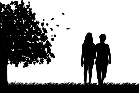 fall in love: Mother and daughter walking in park in autumn or fall, one in the series of similar images silhouette