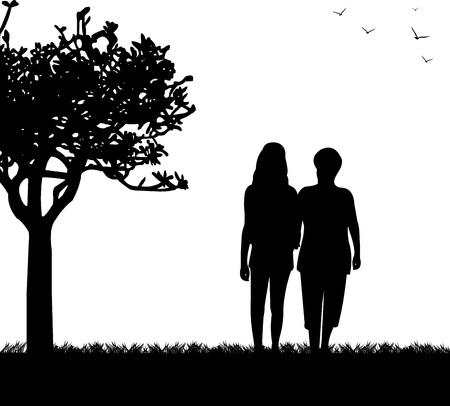 pensionado: Madre e hija caminando en el parque, en la serie de imágenes similares silueta Vectores