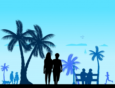 People on the beach and different activities on beach scene silhouette layered, one in the series of similar images Vector