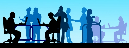 concluded: Business background with business people scene, work in office silhouette on layered
