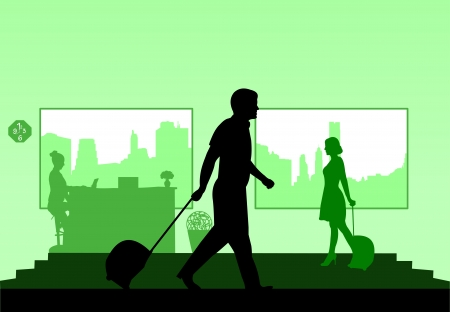 depart: Business people on business travel in hotel and the receptionist at the hotel silhouette layered Illustration