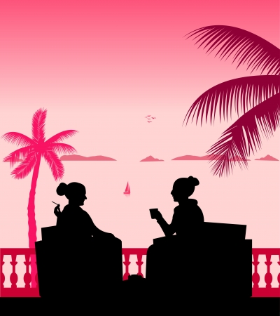 Silhouettes of girls on the beach drinking coffee scene, one in the series of similar images layered Vector