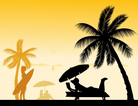 People on the beach and different activities on beach scene silhouette Stock Vector - 22156721